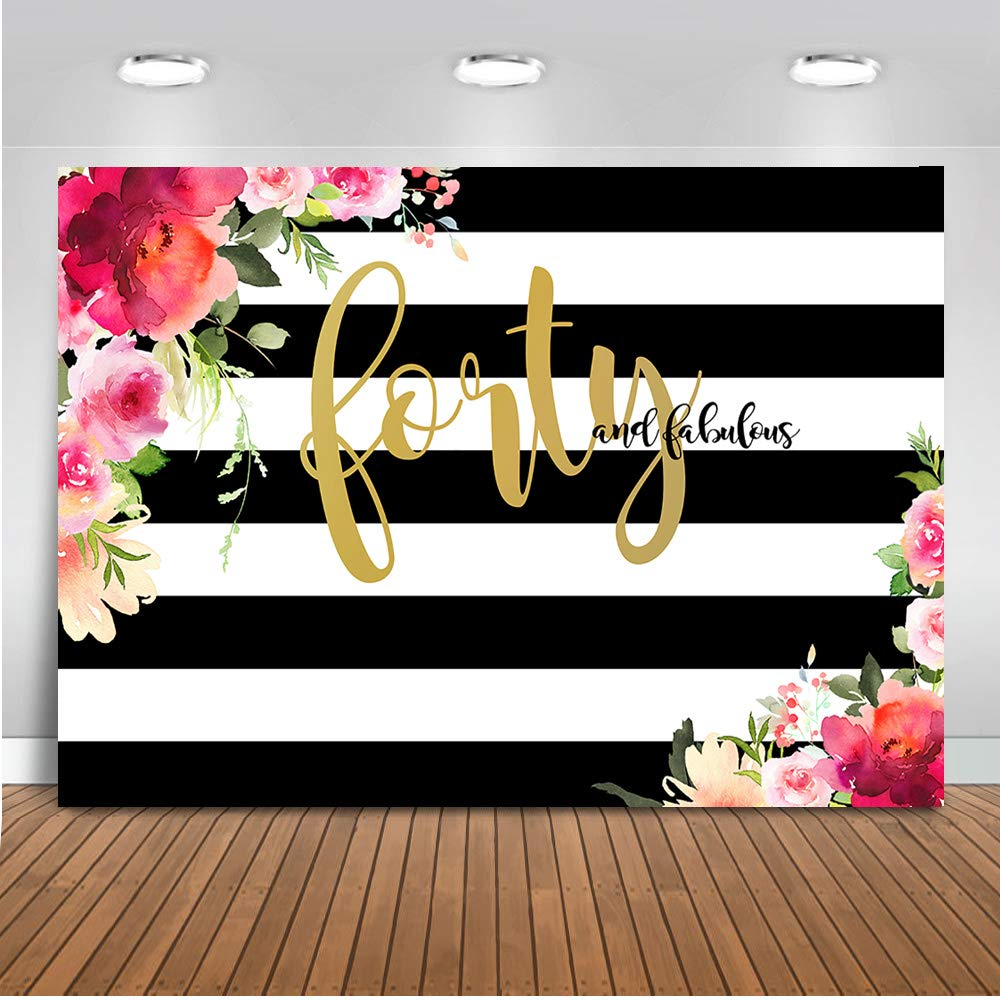 Mehofoto Forty and Fabulous Backdrop Flower Stripes 40th Birthday Photography Background 7x5ft Vinyl Women 40th Birthday Party Banner Backdrops