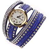 Culater® Jolie Femme Tressé Enroulement Pellicule Rivett Bracelet Poignet Quartz Montre-bracelet Bleu Marine