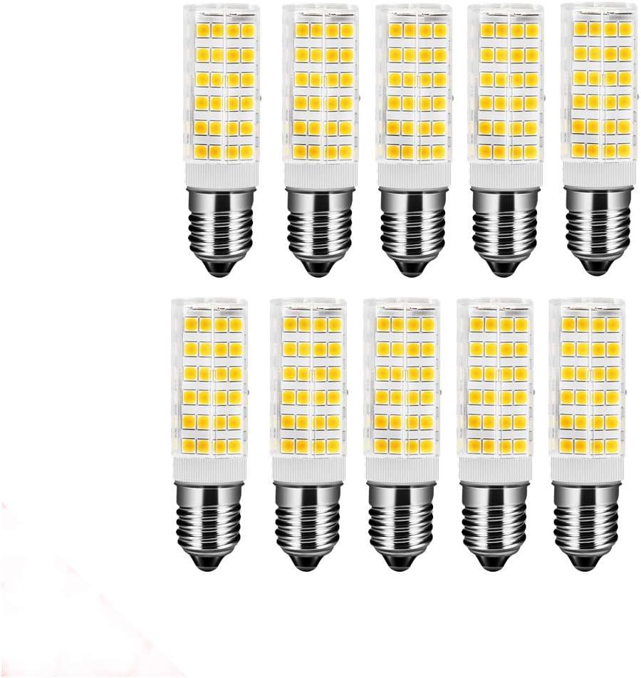 OUGEER Pack de 10 Bombillas LED E14 7W,Blanca Cálida 3000K, AC 220-240V, 650 lúmenes, No Regulable, Bombilla Edison pequeña E14 7W Reemplace la bombilla halógena de 65W: Amazon.es: Iluminación