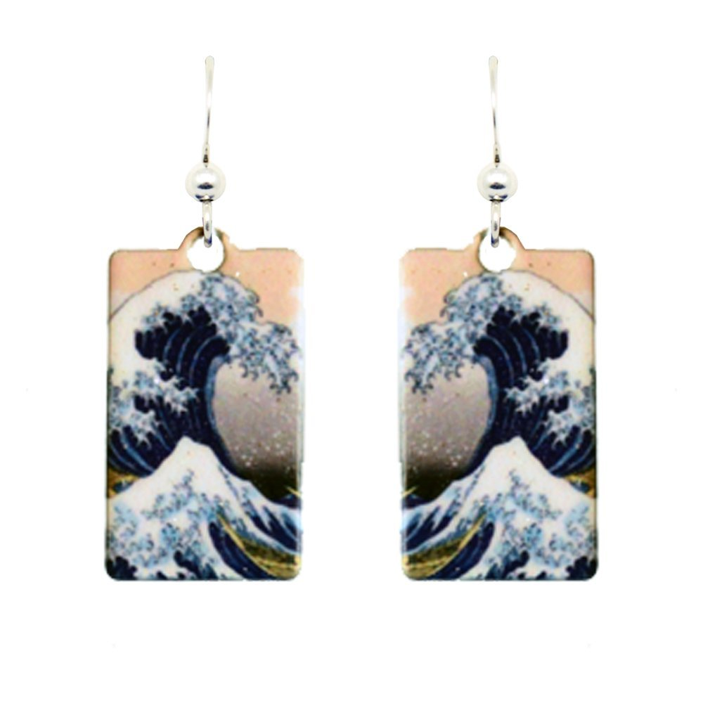 The Great Wave Earrings by dears Non-Tarnish Sterling Silver French Hook Ear Wire