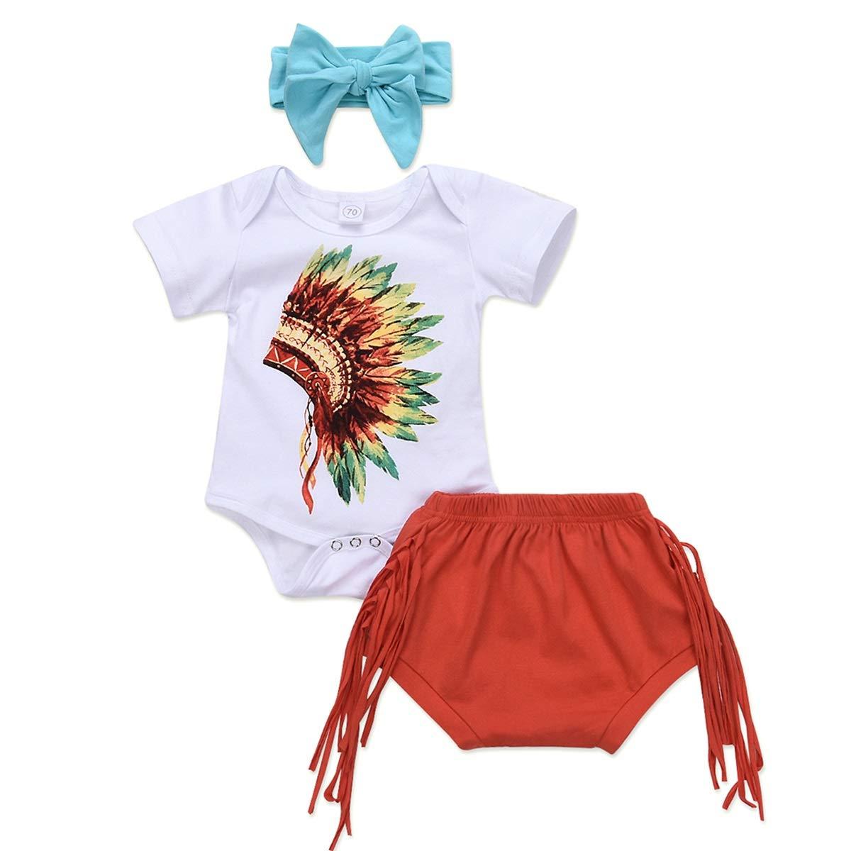 Newborn Baby Infant Girls Romper+Tassel Shorts+Bowknot Headband Summer Outfits 3pcs//Set