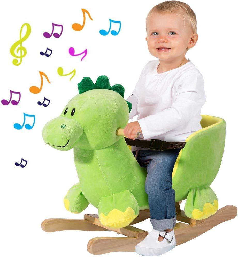 BAKAJI Elefante a Dondolo Cavalcabile Peluche Giocattolo per Bambini con Effetti Sonori Maniglie e Cintura di Sicurezza (Elefante) Dinosauro