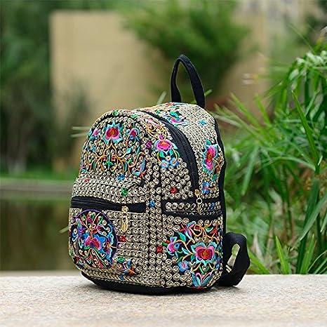 Eólico Nacional de bolsas de lienzo bordado bordado 100 mochila de viaje Bolsos con bandoleras mochilas escolares estudiantiles, dinero flor: Amazon.es: ...