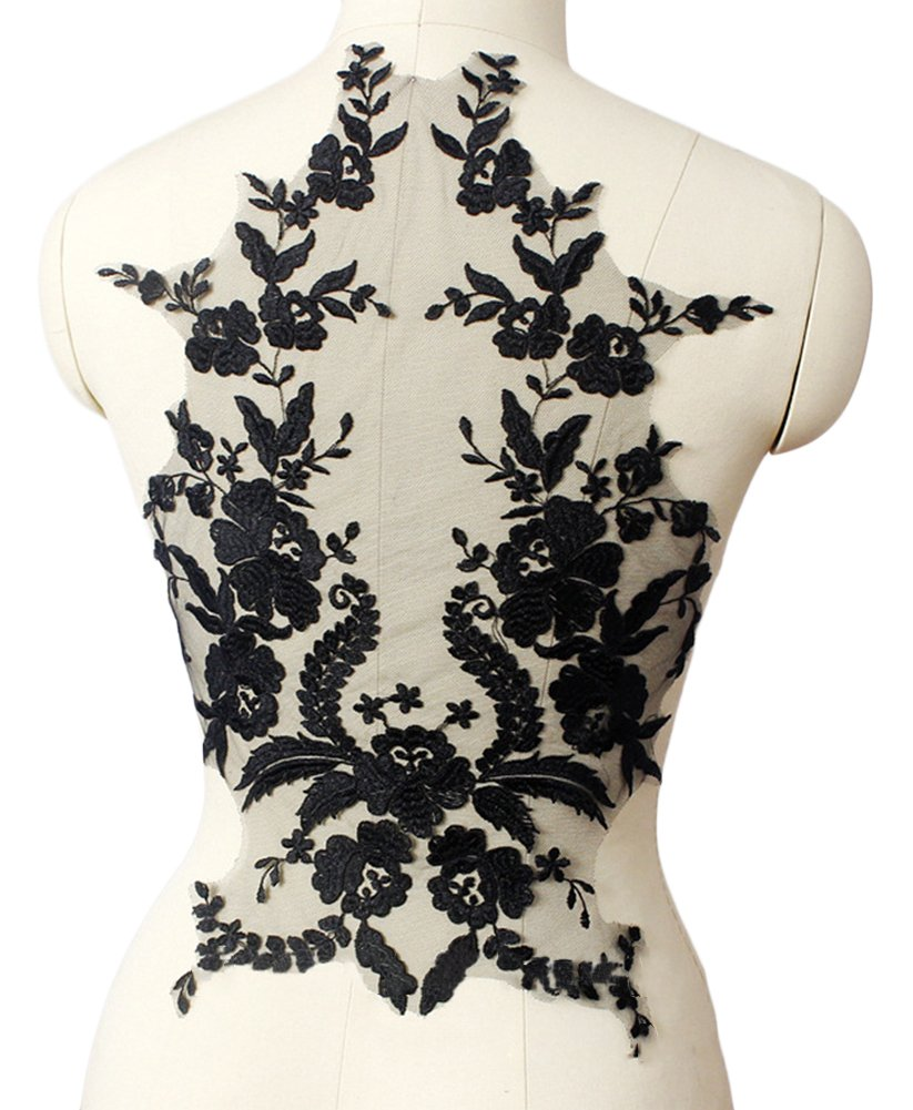 BleuMoo 1 Pc Black Lace Flower Embroidery Applique Patch Wedding Dress DIY Decoration