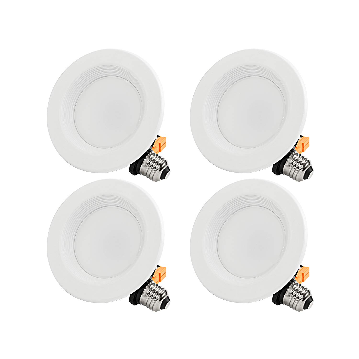 TORCHSTAR 4-Inch Dimmable Recessed LED Downlight with Baffle Trim, 10W (65W Eqv.), CRI 90, ETL, 2700K Soft White, 700lm, Retrofit Lighting Fixture, 5 Years Warranty,Pack of 4