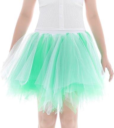 Meclelin Tutu - Falda de Tul para Mujer, Volantes A Verde Menta ...