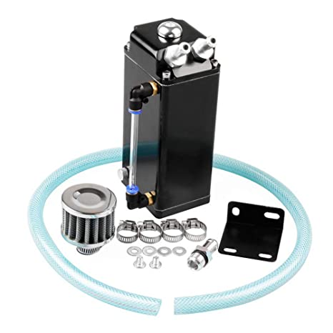 Universal Aluminio Racing Motor Aceite Cisterna Tanque Billete Redondo Turbo Reservoir Can Kit - Para Piezas
