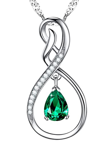 Amazon Com Jewelry T Green Emerald Necklace Charm Infinity