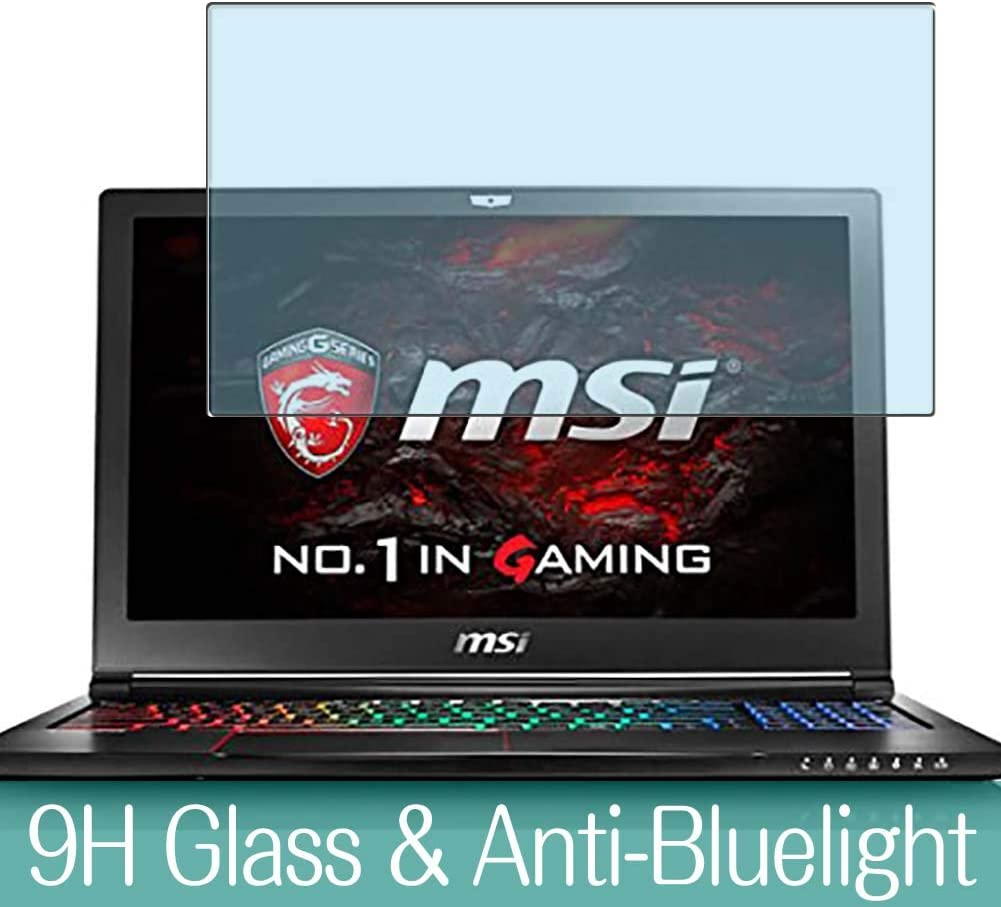 "Synvy Anti Blue Light Tempered Glass Screen Protector for MSI GS63 8RD-088JP 15.6"" Visible Area 9H Protective Screen Film Protectors"