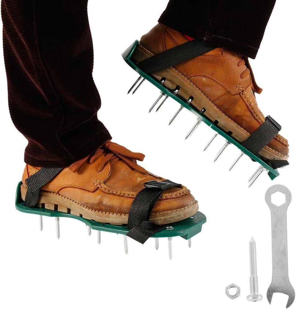 Beenle-Icey Aireador de C/ésped Zapatos para Airear el C/ésped Escarificador Cesp Jard/ín de C/ésped Spikes Sandalias con Correas Ajustables para C/ésped Jard/ín Jardiner/ía