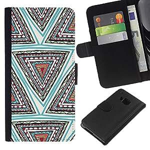 KLONGSHOP // Tirón de la caja Cartera de cuero con ranuras para tarjetas - Diseño Forma Mano trullo profundo - HTC One M9 //