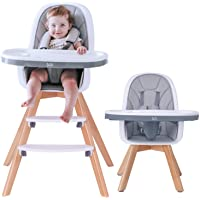 HAN-MM Baby High Chair with Removable Gray Tray, Wooden High Chair, Adjustable Legs, Harness, Feeding Baby High Chairs