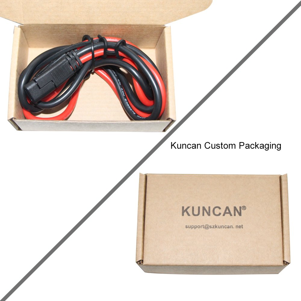 KUNCAN 3FT Sae to Sae 2 Pin 10awg DC Power Heavy Duty Sae Battery Quick Disconnect//Connect Extension Cable with Sae Connectors with Dust Cap