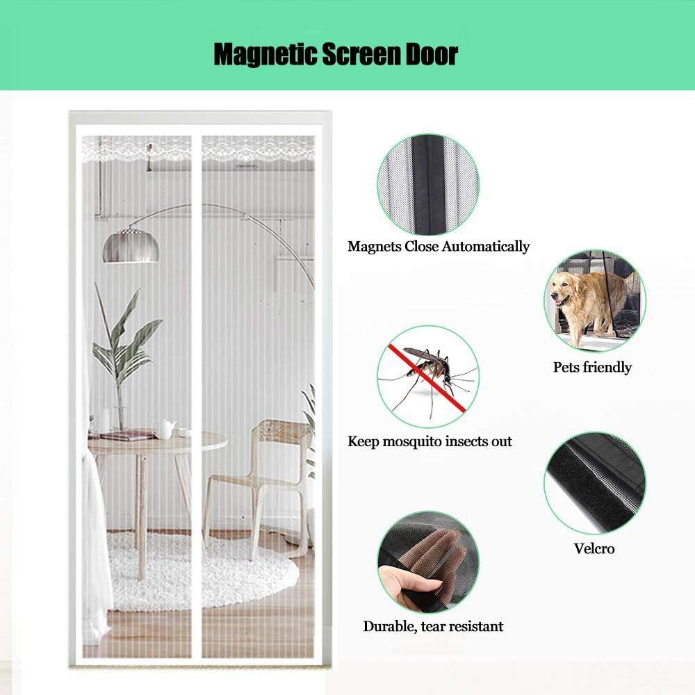 Colla A Grandezza Naturale Punch Gratuito Magneti Bianco 70x220cm Porte per Balconi Tenda Velcro Animali Domestici Portefinestre WISKEO Zanzariere Senza Viti Magnetica