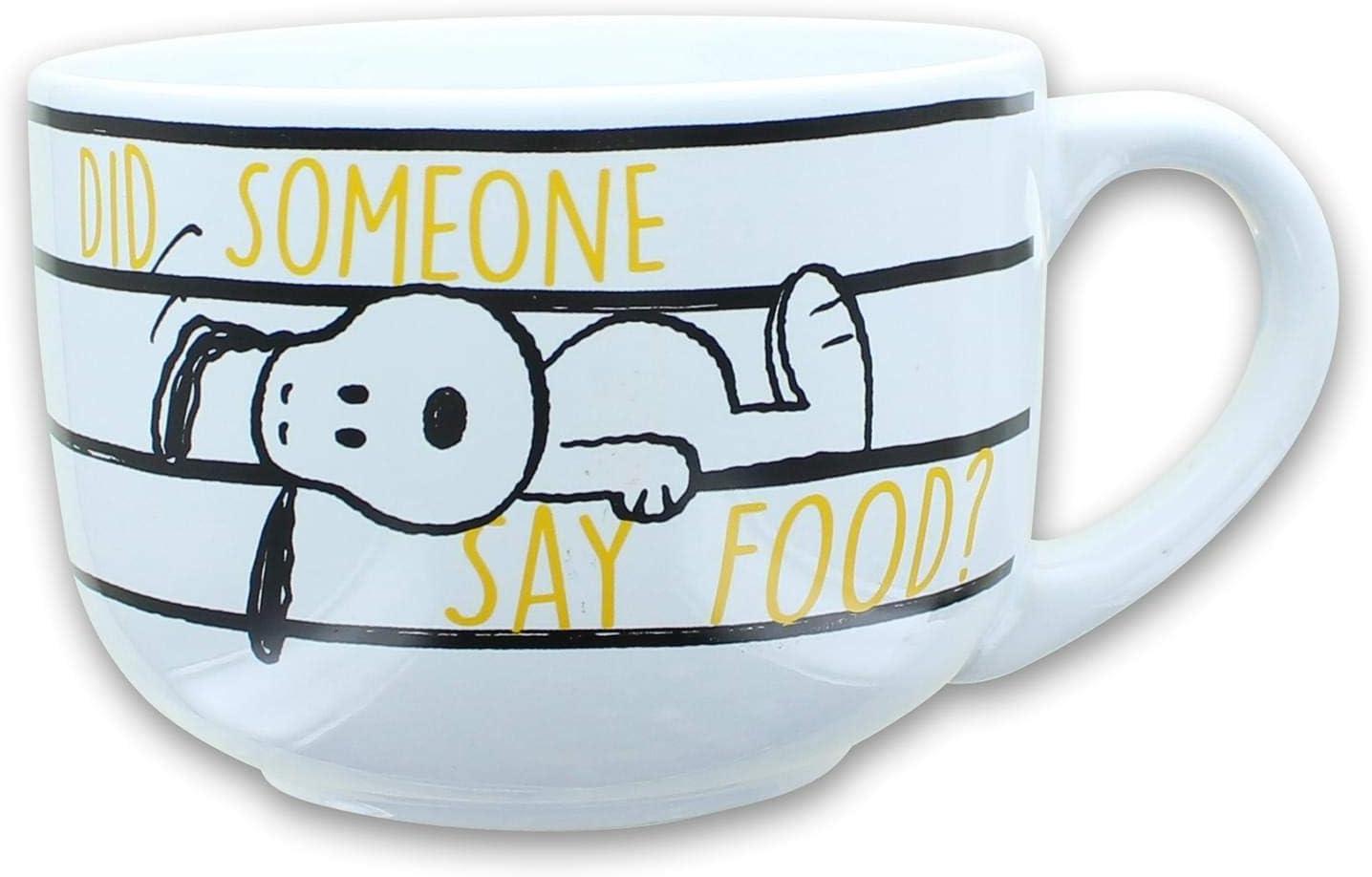 Peanuts Snoopy Did Someone Say Food 24oz Ceramic Soup Mug w/ Lid
