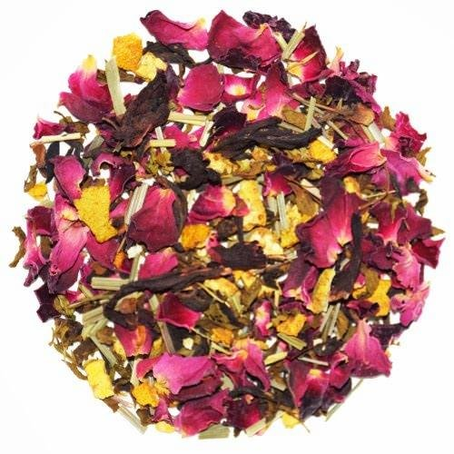 Floral Vitamin - The Indian Chai - Hibiscus Floral Loose Leaf Exotic Tea, Herbal Tisane, With Rose Petals and Orange Peel, 3.53oz