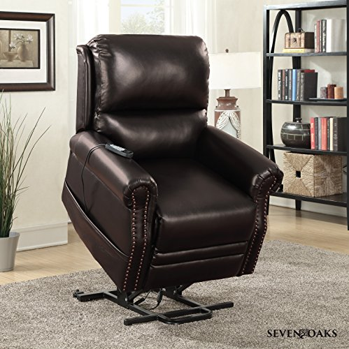 Seven Oaks Power Lift Recliner for Seniors, Electric Chair for the Elderly with Heated Massage, Adjustable Controls and Full Range of Motion, Soft Bonded Leather, (Model # BRNLEATHNLHD) (Lift Chairs Recliner Power)
