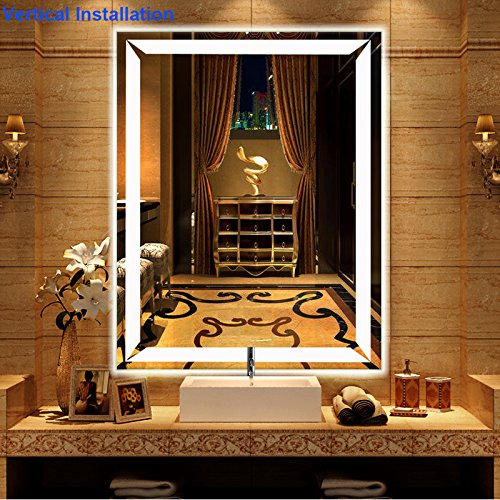 Bathroom Mirror with Lights, Modern LED Mirrors for Wall with Defogger + UL Listed + IP44 Waterproof + 6000K Cool White + CRI>85 + Horizontal or Vertical Installation + Ultra-Thin (27''X 35'') by LtMirror (Image #1)