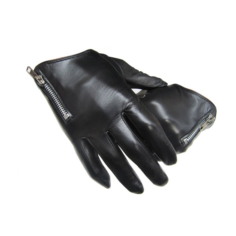 T-S Handschuh Herren Dünne Lederhandschuhe, Winter Outdoor-Handschuhe, Schwarz, Mit Reißverschluss ++