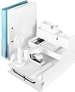 NUSIGN 14 PCS All-in-One Desk Organizer Set, Office Supplies Gift Kit, Includes File Organizer, Pencil Holder, Basic Calculator, Stapler, Scissors, Cutter and Tape Dispenser, White