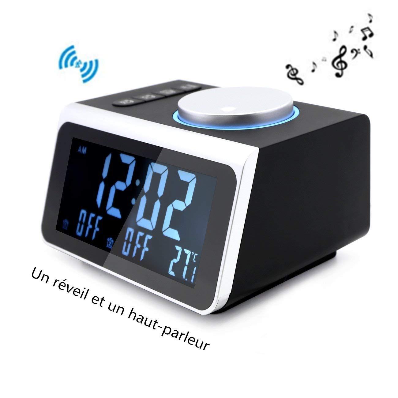 12H / 24H - Monitor LCD de 3,2 Pulgadas 5 Atenuadores de Radio Reloj Despertador Digital FM Reloj de Radio Puerto de Carga Dual USB para iPhone, Android, Oficina, Habitación