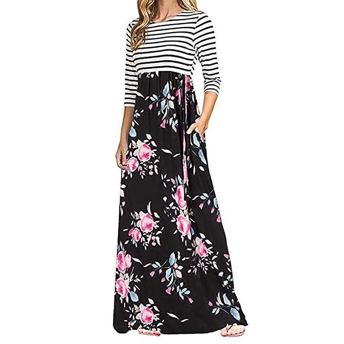 Vestido de Bolsillos de Cintura Alta,Vestidos Largos Largos de la impresión Floral