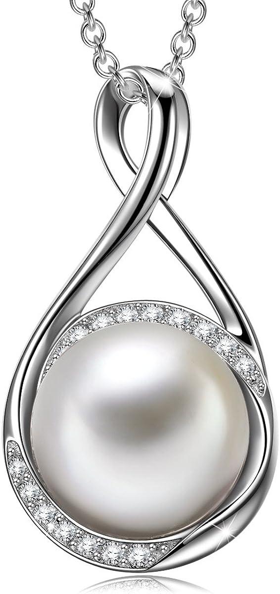 J. RENEÉ Pendientes Perla, Plata de Ley 925 Colgantes Mujer, Collar Perla de Swarovski, Joyas para Mujer, collares Mujer, Regalos Mujer