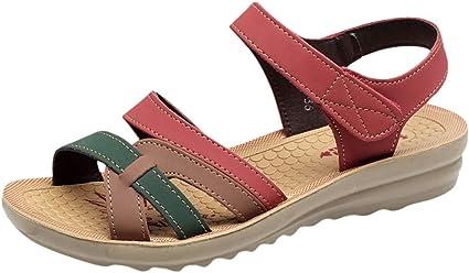 Sandalias de piel para mujer con altavoz, de verano, planas, ligeras, cómodas de tacón plano, 2019 para senderismo rojo 40: Amazon.es: Ropa y accesorios