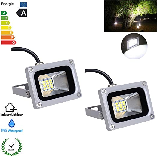 2X 10W 12V LED Flood Light Cool White 6000-6500K Lamps for Outdoor Garden Light
