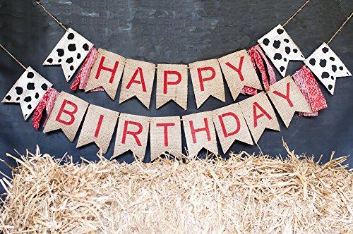 Happy Birthday Banner, Farm Birthday Party Bunting, Barnyard Bash Decoration