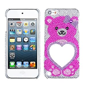 Snap on Cover Fits Apple iPod Touch 5 (5th Generation) Pink Bear Heart Mirror Premium Full Diamond/Rhinestone Back (Please carefully check your device model to order the correct version.)