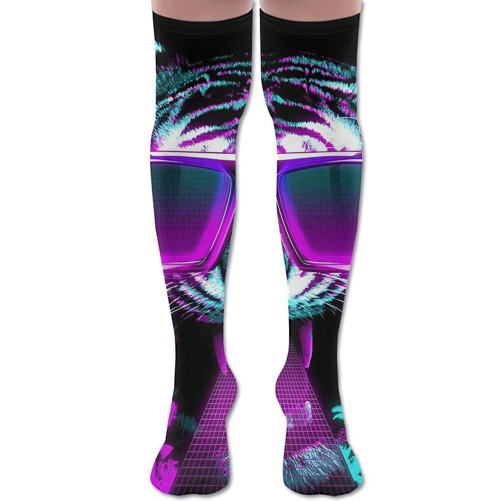 Unisex Football Socks Cool Tiger With Sunglasses Knee-Highs Long Socks