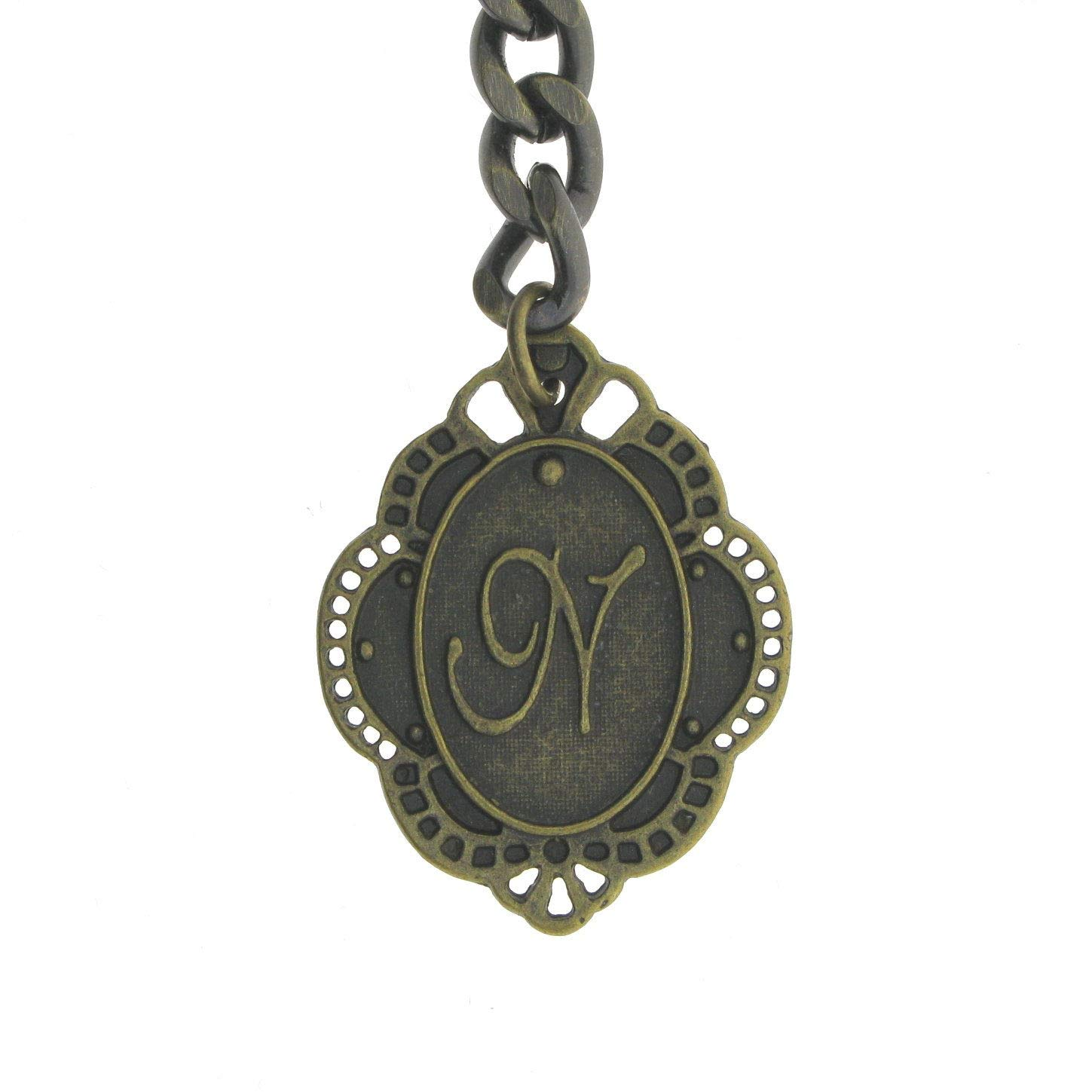 Albert Chain Pocket Watch Curb Link Chain Antique Brass Color + Alphabet N Initial Letter Fob T Bar AC84 by watchvshop (Image #5)