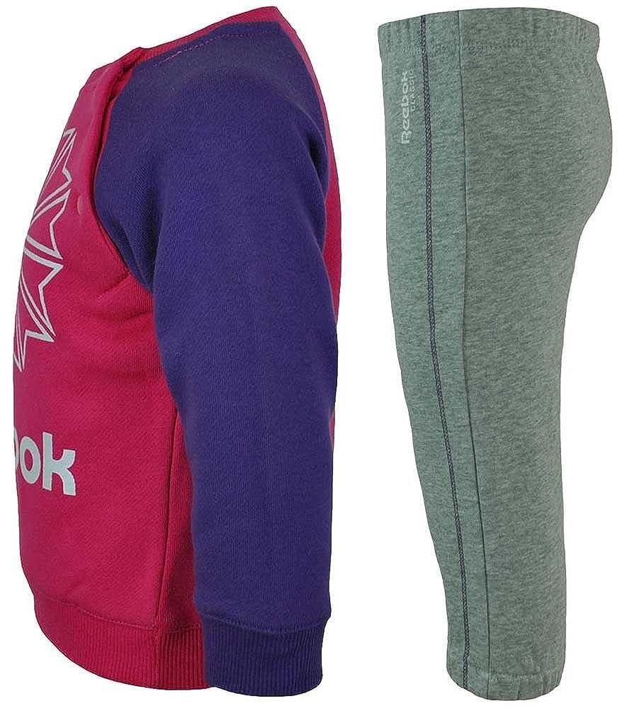 Reebok Jogging Set Kids Tracksuit Baby Jogginganzug Trainingsanzug Pink//Grau