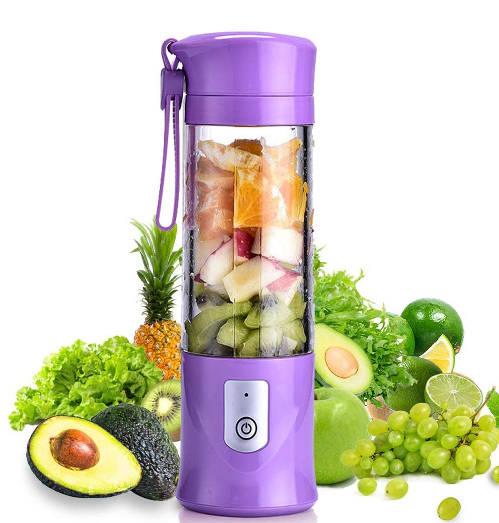 USB Electric Juice Cup, Juicer Blender, Mini Portable USB Blender,Juicer Mixer Blender Smoothie Maker with3D 6 Blades for Home,Sports,Travel,Purple