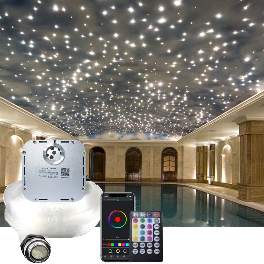 AKEPO 32W RGBW Twinkle APP Fiber Optic Lights Kit Music Activated Star Ceiling Sky Light, with 800pcs of 16.4ft/5m Mixed Dia. (0.75+1+1.5mm) Optical Fiber Cable and Crystals for Car & Media Room Decor