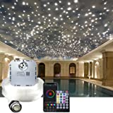 AKEPO 32W RGBW Twinkle APP Fiber Optic Lights Kit Music Activated Star Ceiling Sky Light, with 800pcs of 16.4ft/5m Mixed Dia.