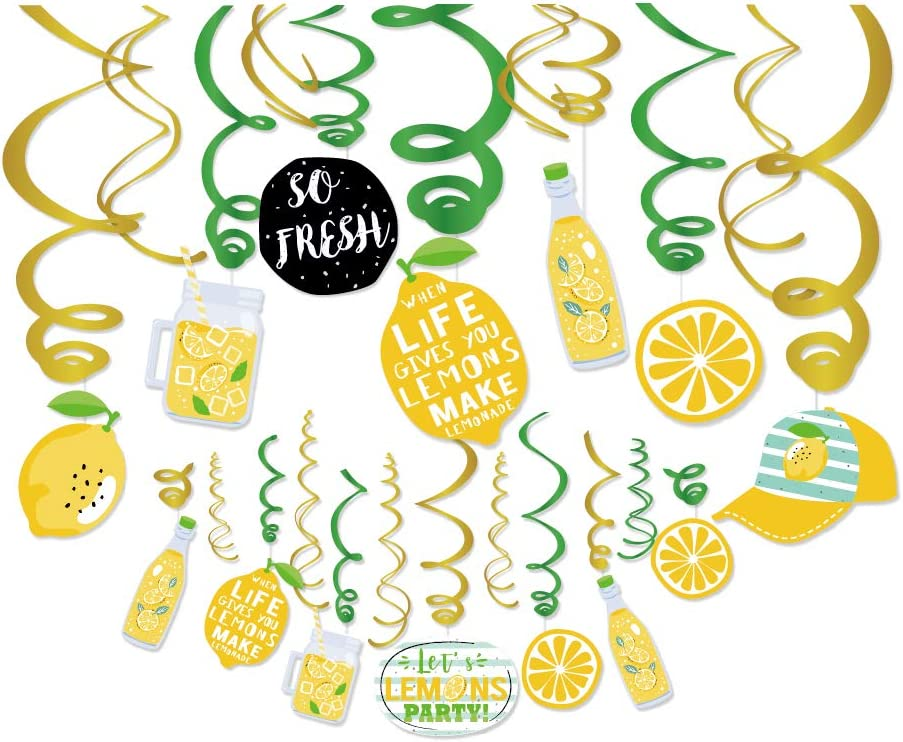 Kristin Paradise 30Ct Lemon Hanging Swirl Decorations, Citrus Lemonade Party Supplies, Lime Birthday Theme Decor for Boy Girl Baby Shower, Kids 1st Bday Favors Idea