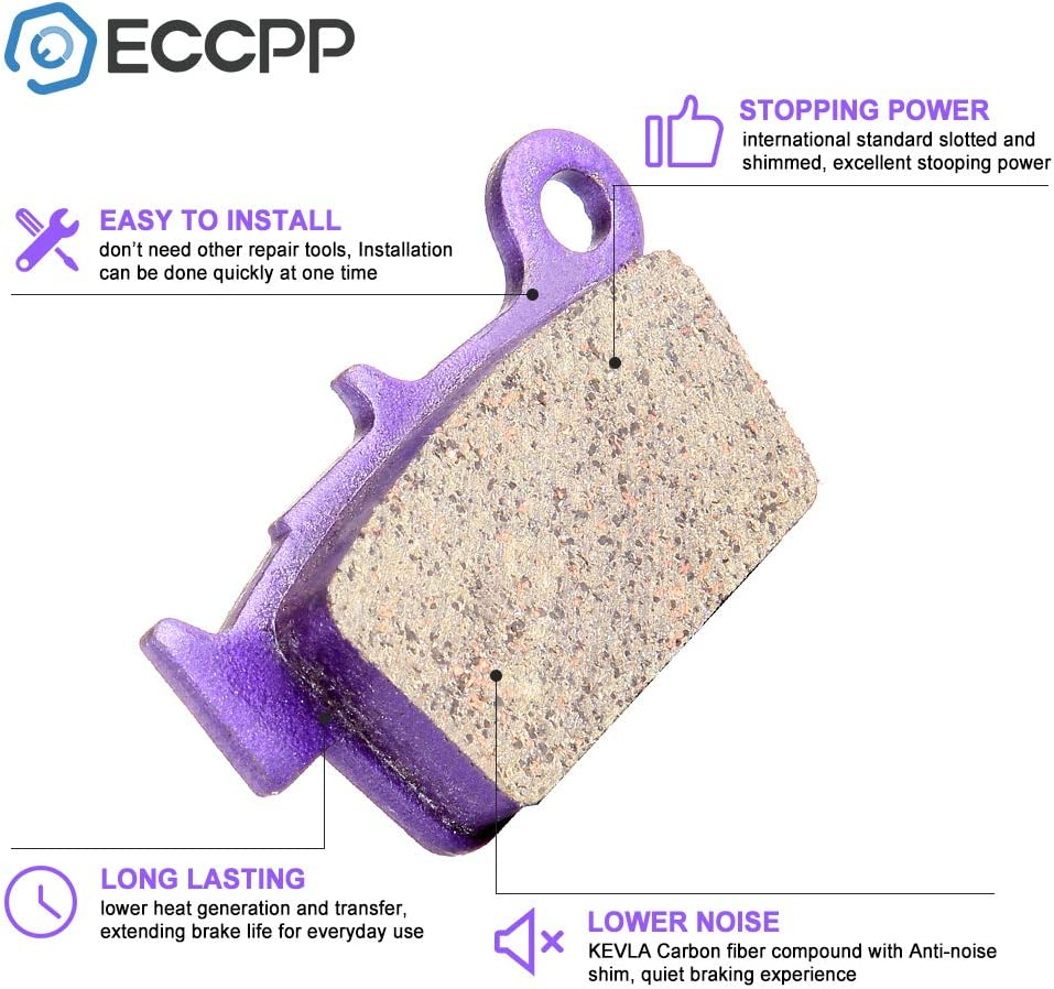 ECCPP/® Front and Rear Kevlar carbon Brake Pads Fits 2005-2013 Suzuki RM-Z450