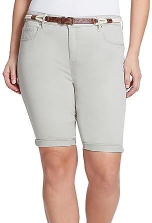 e7bcdd28bc Gloria Vanderbilt Women's Plus Size Joslyn Belted Bermuda Jean Shorts  (Laurel Mist, 24W) at Amazon Women's Clothing store: