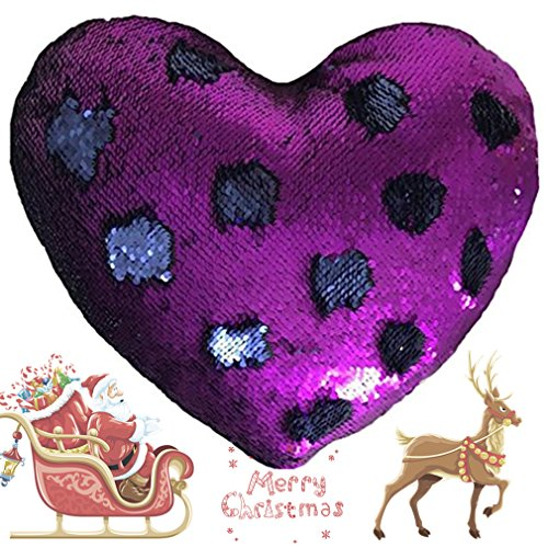 J-hong Mermaid Throw Pillow with Insert,Two-Color Heart Shape Reversible Sequins Decorative Pillow. 13×15 (Blue+Purple)