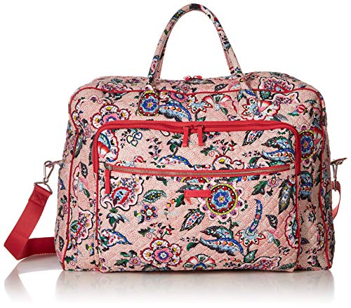 Flowers Vera Bradley - Vera Bradley womens Iconic Grand Weekender Travel Bag, Signature Cotton, Stitched Flowers, One Size