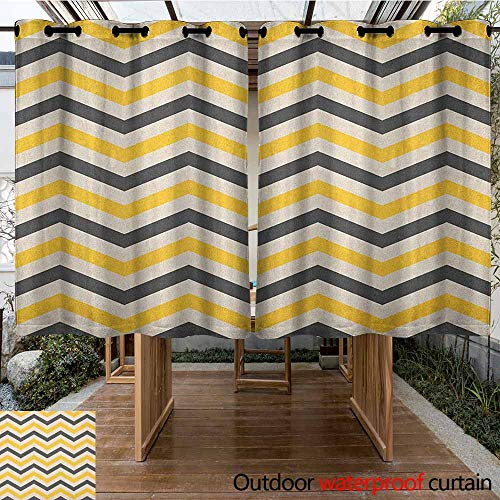 AndyTours Outdoor Grommet Top Curtain Panel,Yellow Chevron,Large Zigzags in Retro Design Geometrical Horizontal Tile,Curtains for Living Room,K140C115 Charcoal Grey Yellow Cream