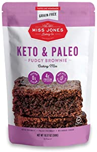 Miss Jones Baking Keto Brownie Mix - Gluten Free, Low Carb, No Sugar Added, Naturally Sweetened Desserts and Treats - Diabetic, Atkins, WW, and Paleo Friendly