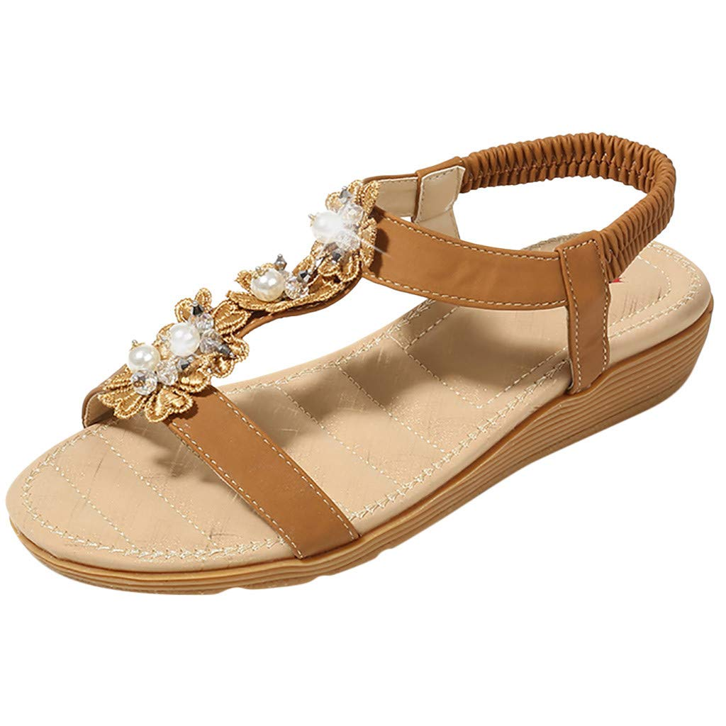 Clearance! Swiusd Women's Girls Ethnic Pearl Beaded Sandal Vintage Comfy Elastic Band Open Toe Slippers Retro Beach Dress Shoes (Brown, 6) by Clearance! Swiusd