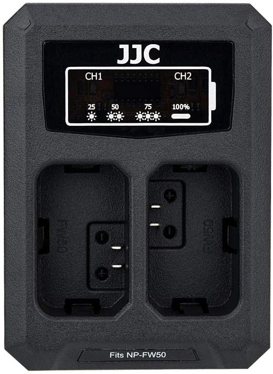 JJC NP-FW50 Battery Charger USB Dual Slot for Sony A6000 A6100 A6300 A6400 A6500 A7 A7II A7S A7SII A7R A7RII NEX-7 NEX-6 SLT-A99II DSC-RX10IV DSC-RX10III DSC-RX10II DSC-RX10 Cameras