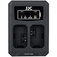 JJC NP-FW50 Battery Charger USB Dual Slot for Sony A6100 A6000 A6300 A6400 A6500 A7 A7II A7S A7SII A7R A7RII NEX-7 NEX-6 DSC-RX10IV DSC-RX10III DSC-RX10II DSC-RX10 Cameras