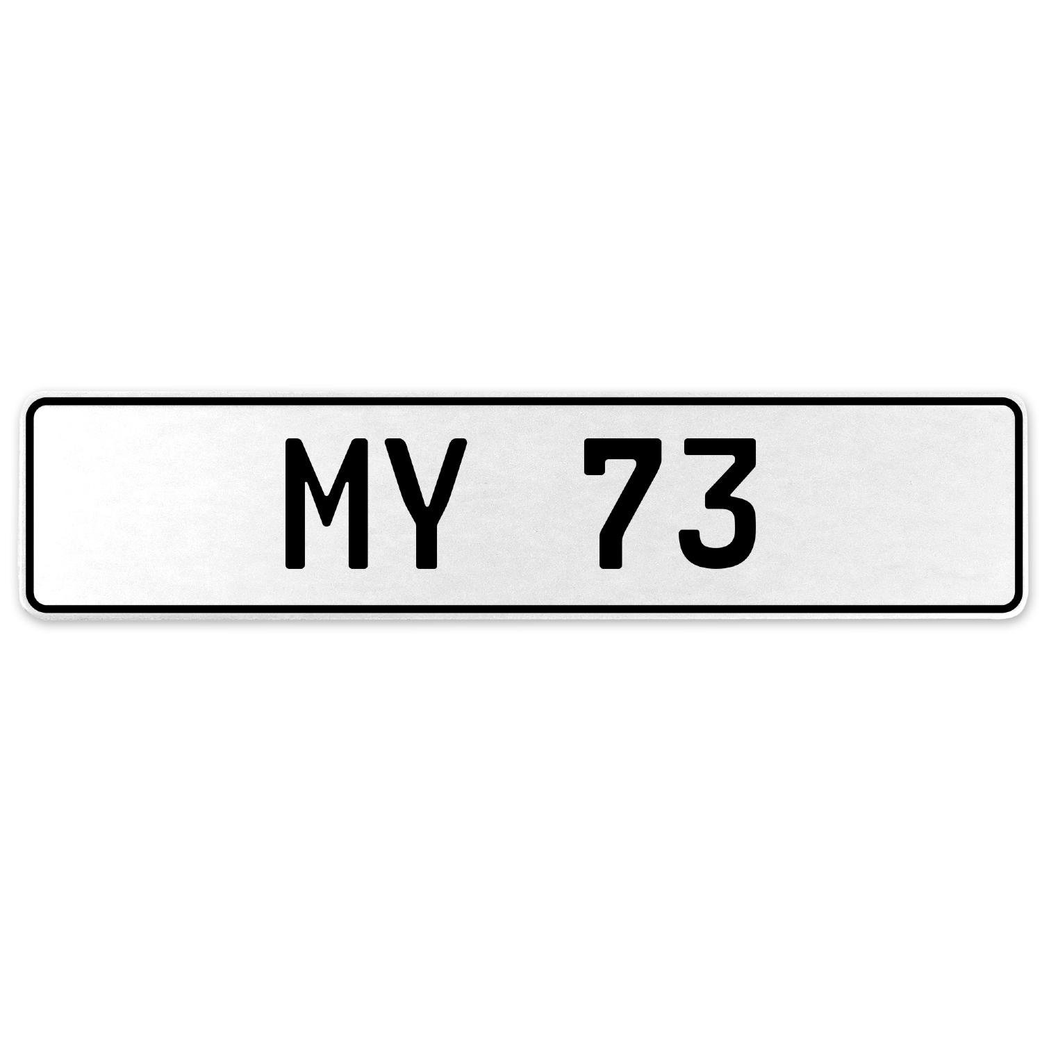 Vintage Parts 555165 My 73 White Stamped Aluminum European License Plate