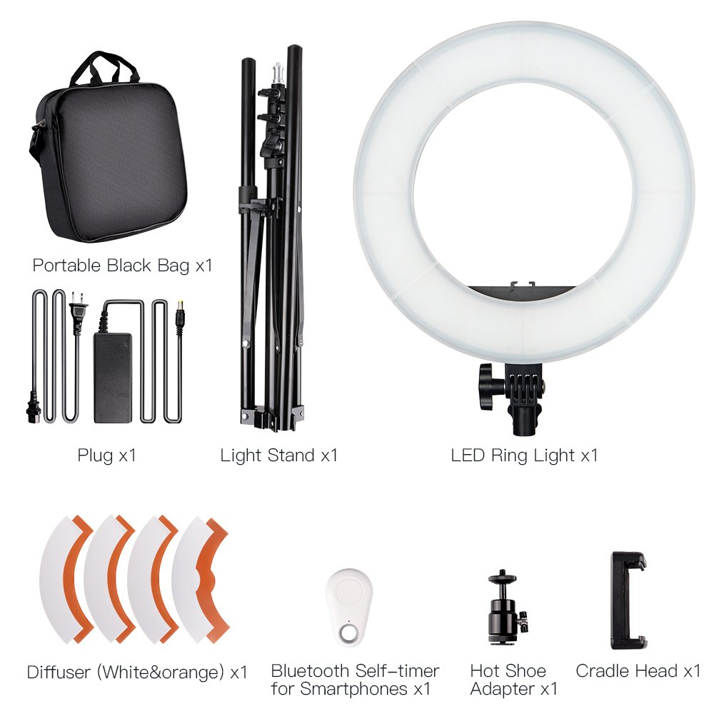 SAMTIAN LED Ring Light 14 inches Outer YouTube Light 180 Dimmable LED Lighting Kit with 2M Light Stand, Cradle Head, Phone Holder for Video Shooting, YouTube Video, Portraiture, Makeup by SAMTIAN