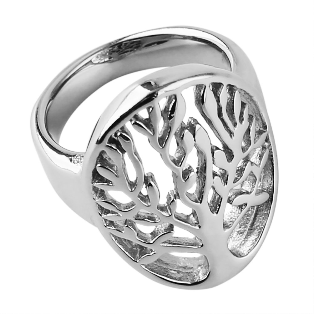 HZMAN Stainless Steel Tree of Life Ring Statement Promise Anniversary Engagement JZ80602A-10